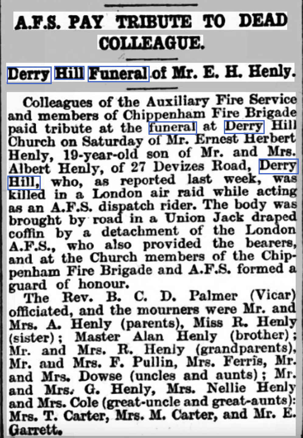 Ernest Henly's Funeral